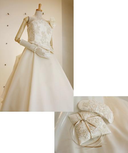 ドレス-front-&リングピロー・ボンネ